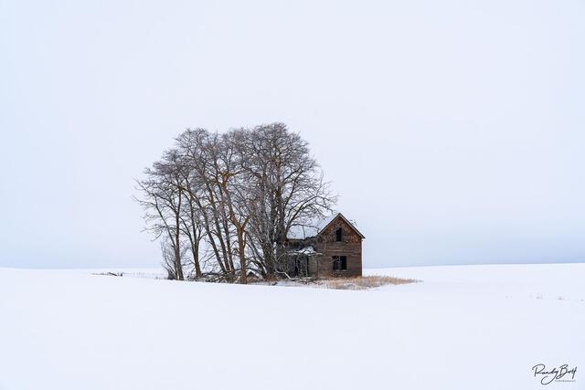 lone farmstead on highway 2 in Washington
