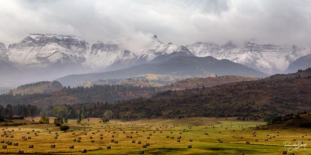 Haybales and Mount Sneffels at sunrise in the Double RL Ranch owned by Ralph Lauren.
