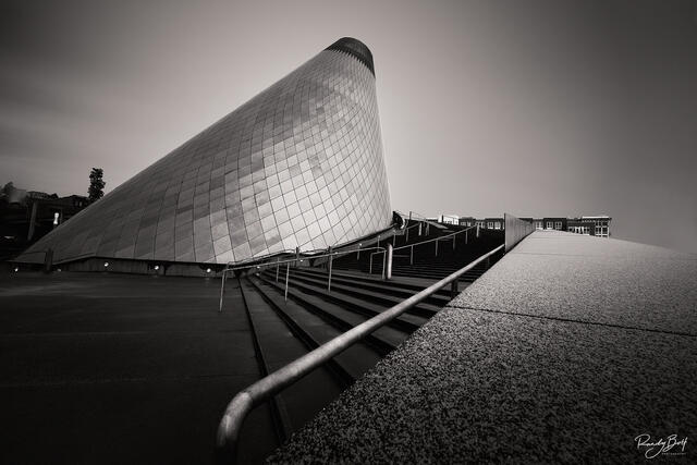 Chihully glass museum in black and white.