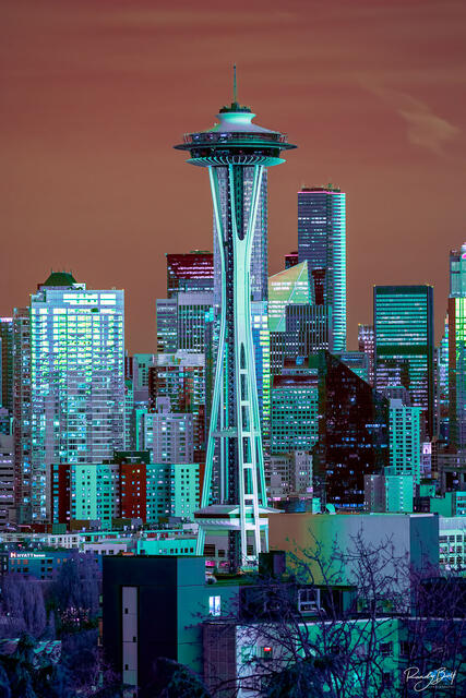 470 nm hyper color infrared photo of the space needle from Kerry Park