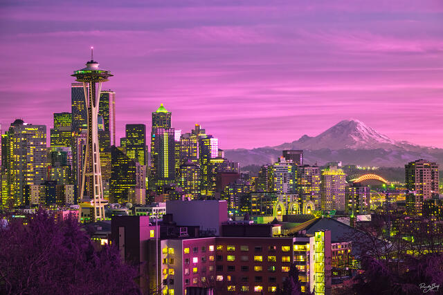 470 nm hyper color infrared photo of Seattle from Kerry Park