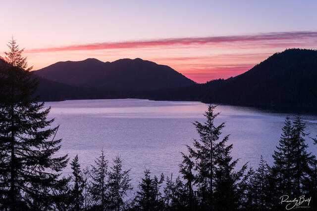 sunset over lake crescent on the Olympic Peninsula