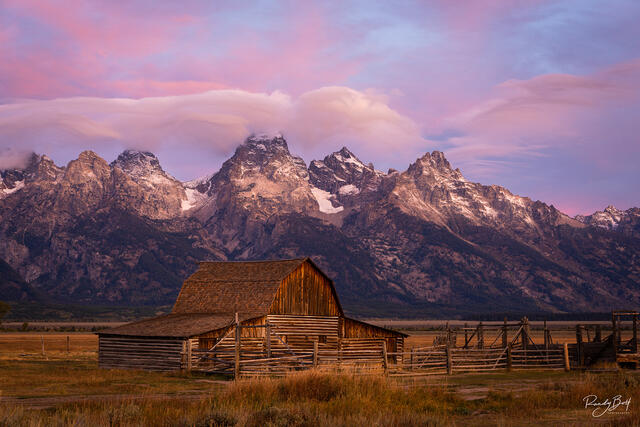 sunrise over the Moulton Barn in mormon row near the grand Tetons, Wyoming
