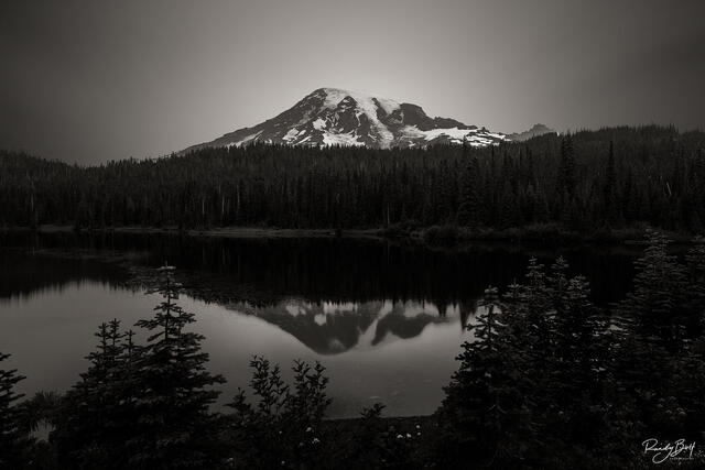 Mount rainier in black and white long exposure