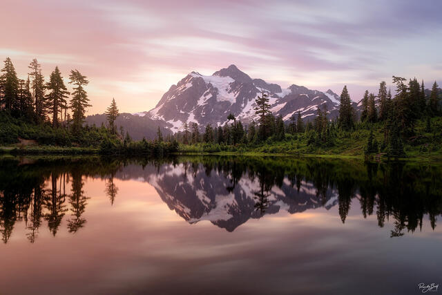 sunrise at picture lake with Mount Shuksan reflection