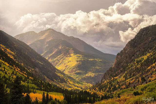 sunshine mountain at sunset from Ophir Colorado.