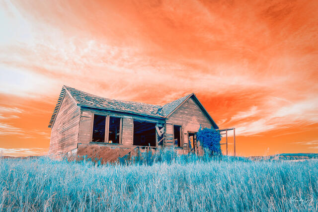 infrared abandoned house in Wyoming
