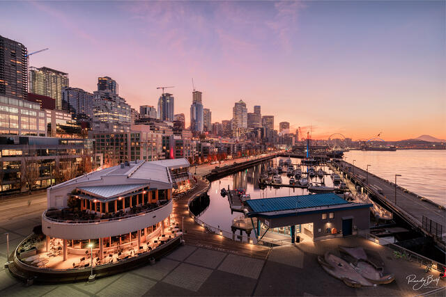 sunrise from pier 66 on the Seattle Waterfront