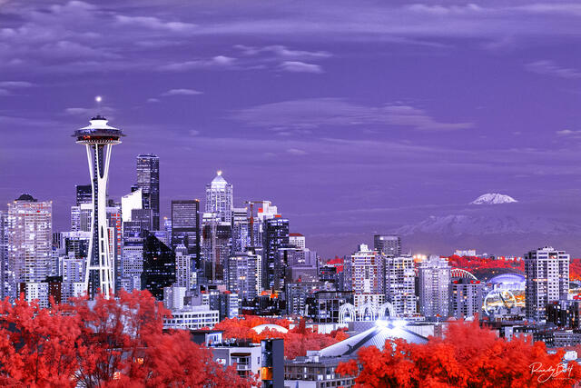 infrared Seattle with mount rainier in the background from Kerry Park