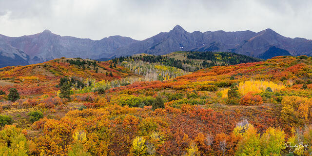 panoramic image from Dallas Divide in colorado with Mount Sneffels in the background.