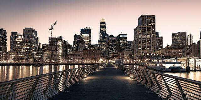 monochrome panorama of San Francisco