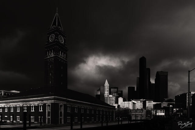 downtown Seattle near the train station in black and white