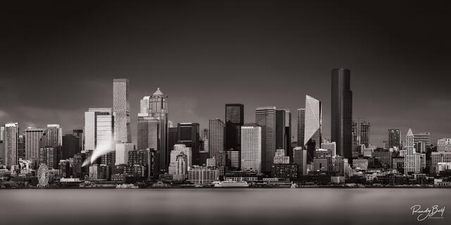 black and white panorama of downtown Seattle