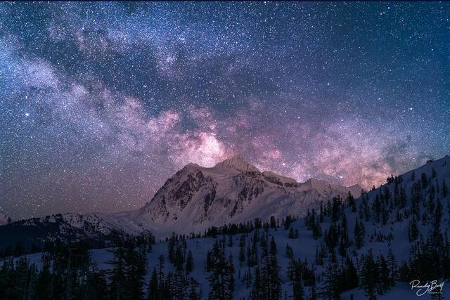 Milky Way over Mount Shuksan at the mount baker ski resort