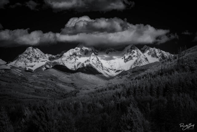 infrared black and white south twin mountain near mount baker in the north cascades