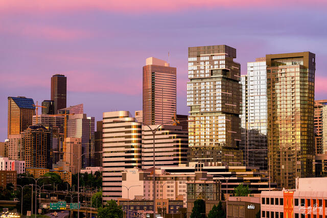 glow of the sunrise on the city of Seattle.