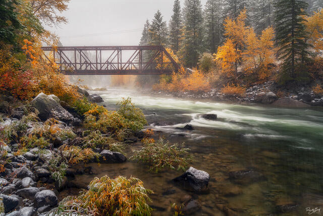 fall color and snow in the Tumwater canyon near Leavenworth.