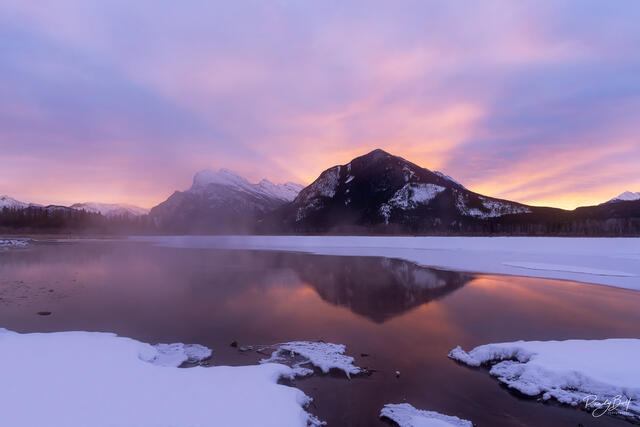 sunrise over mount Rundle and vermilion lakes in Banff, Alberta, Canada