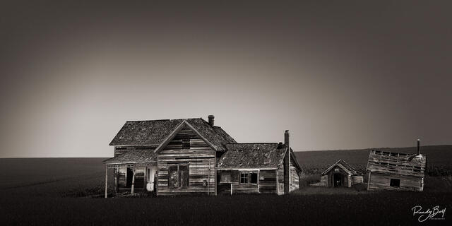 black and white Weber Farmstead panorama photograph