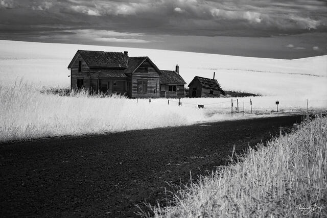 830 nm deep black and white of the Palouse from Steptoe butte