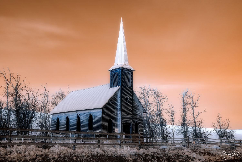 infrared photo of the locust grove church in Wasco, Oregon.