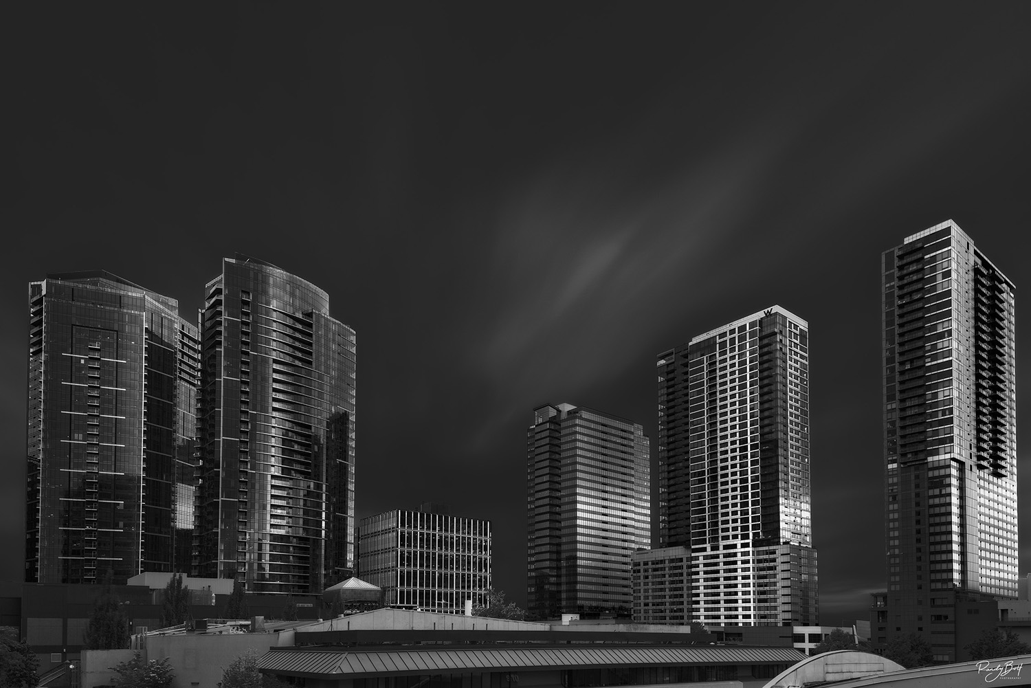 downtown bellevue in black and white