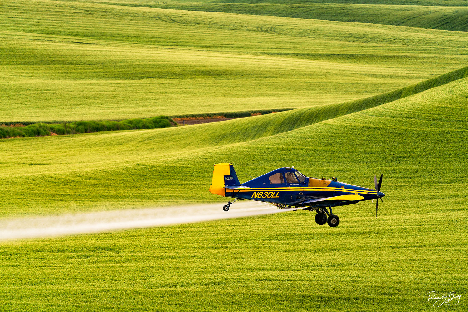 crop duster in the fields of the Palouse in Washington