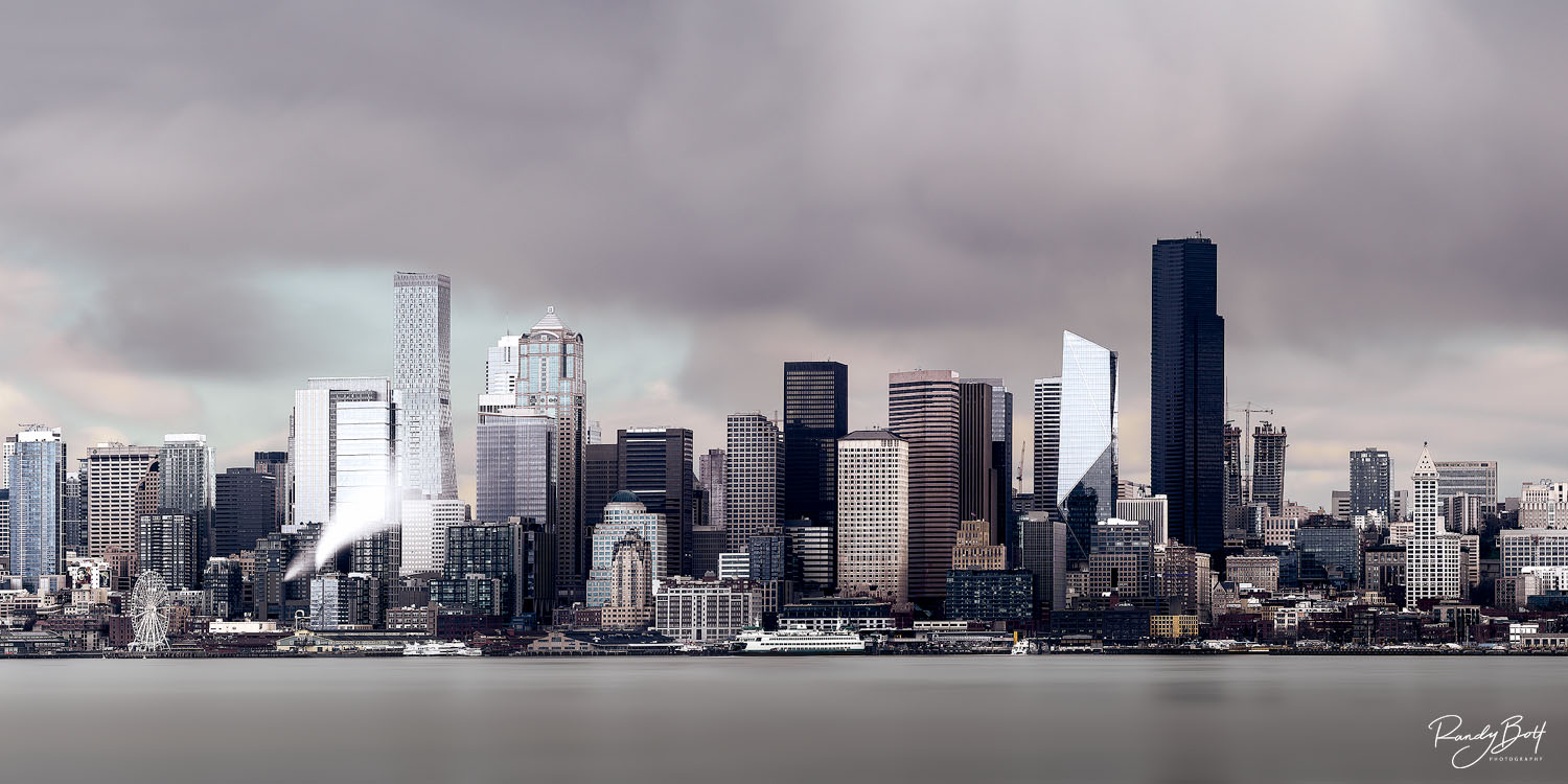 panoramic of Downtown Seattle from Alki beach