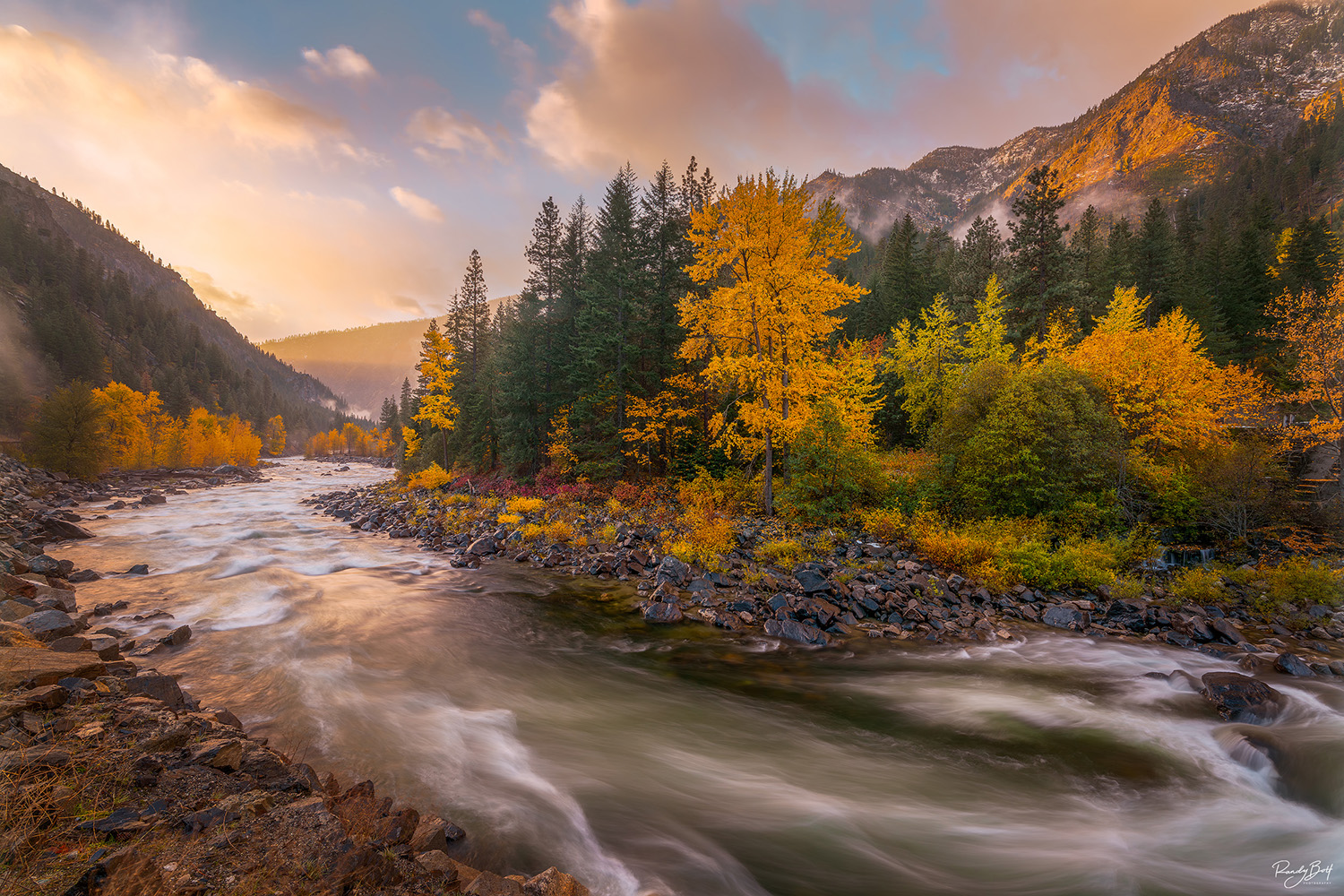Light rays and fall color in the Tumwater Canyon near Leavenworth, Washington.