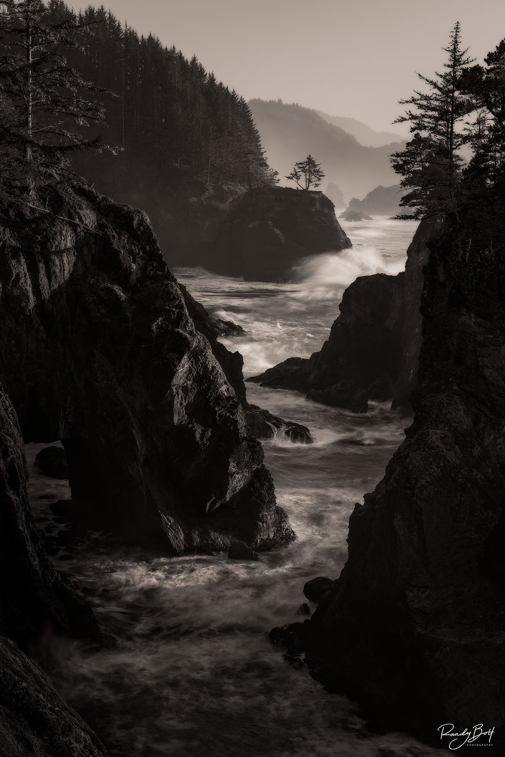 natural bridges on the Oregon Coast in black and white.
