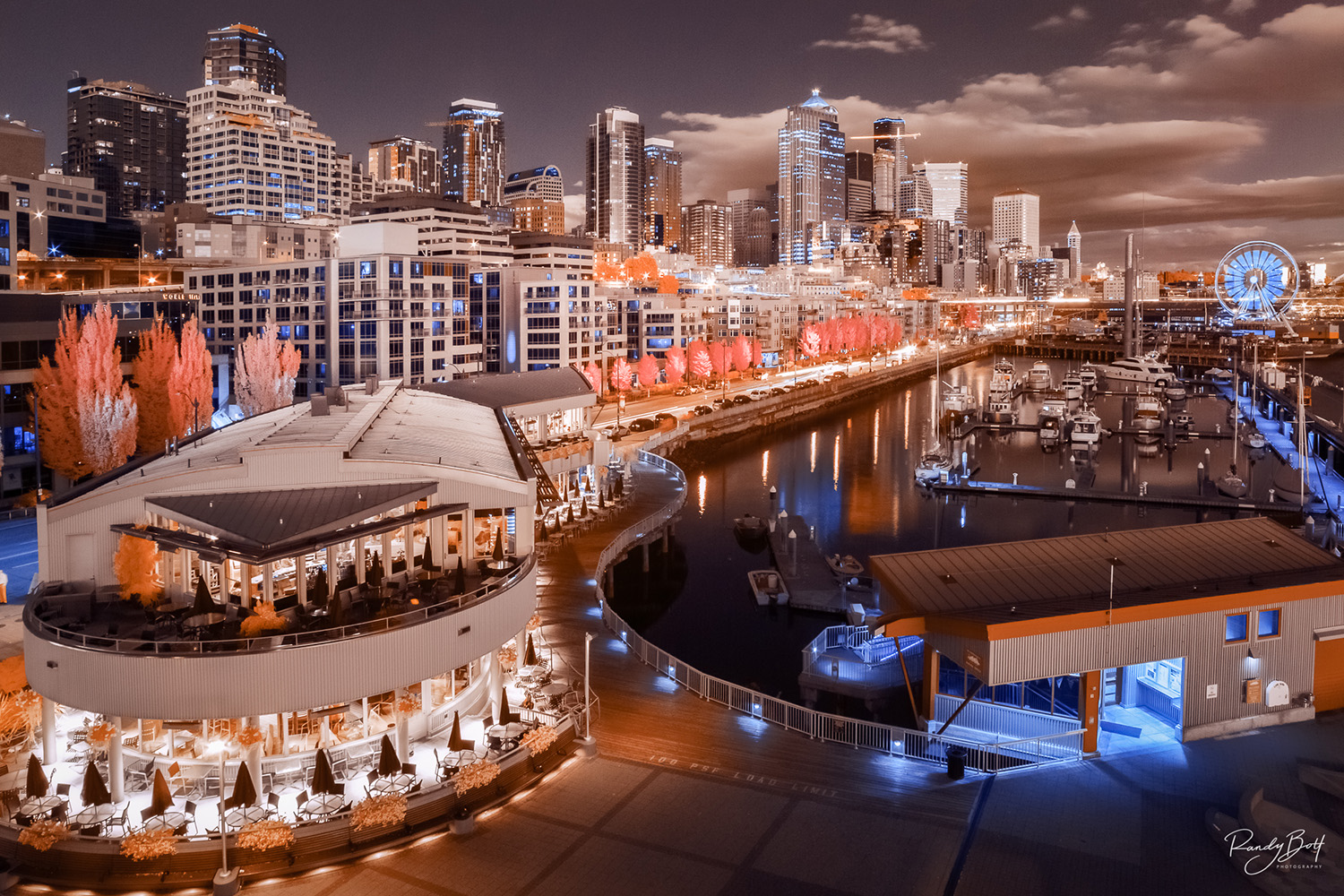infrared Seattle Waterfront from pier 66 rooftop