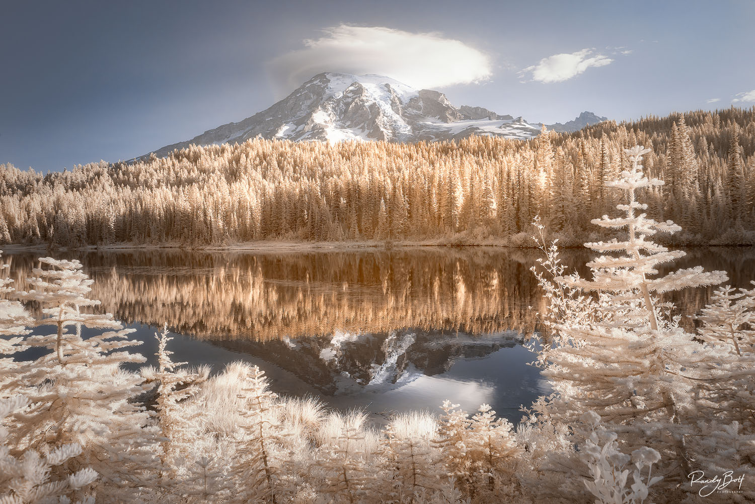 mount rainier in 720 nm infrared photography.