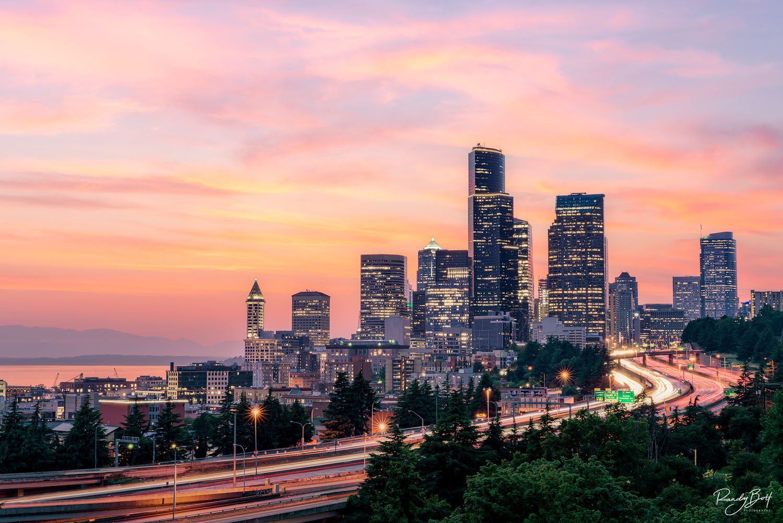 downtown Seattle at sunset from Jose Rizal Bridge