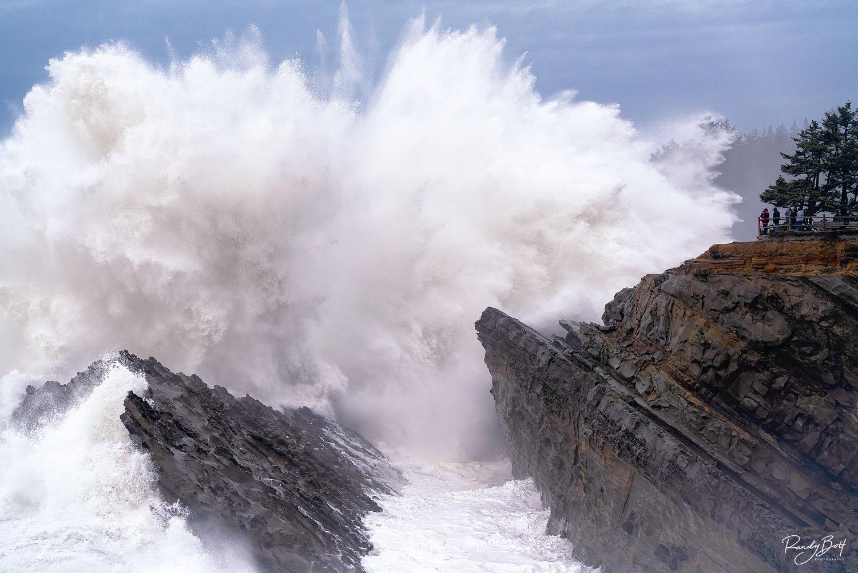 crashing waves at shore acres park in Coos Bay Oregon.