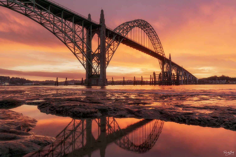 Sunrise in Newport Oregon at the Yaquina Bay Bridge.
